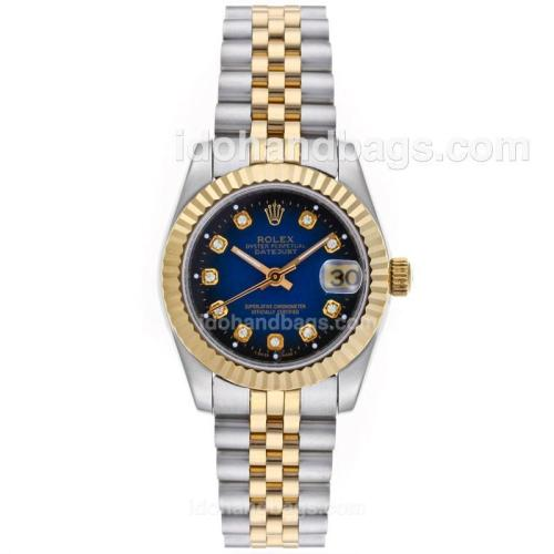 Rolex Datejust Automatic Two Tone Diamond Markers with Blue Dial-Mid Size 64204
