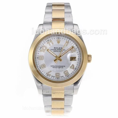 Rolex Datejust II Automatic Two Tone Number Markers with White Dial 61890