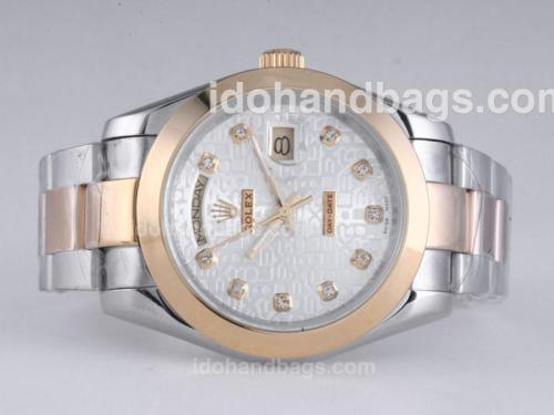 Rolex Day-Date II Automatic Two Tone Diamond Marking with Computer Dial-41mm New Version 25952