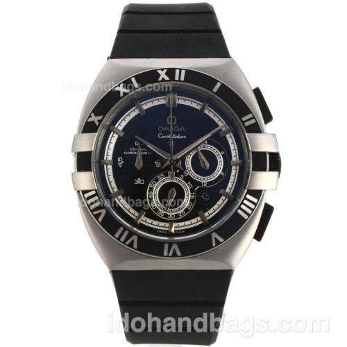 Omega Constellation Double Eagle Working Chronograph with Black Dial-Rubber Strap 139550
