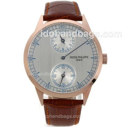 Patek Philippe Classic Manual Winding Rose Gold Case with Grey Dial-Brown Leather Strap 130702