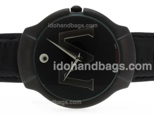 Movado Classic PVD Case with Black Dial-Leather Strap 39316