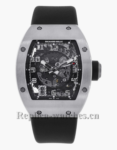 Replica Richard Mille White Gold Skeletonised Automatic Mens Watch RM010