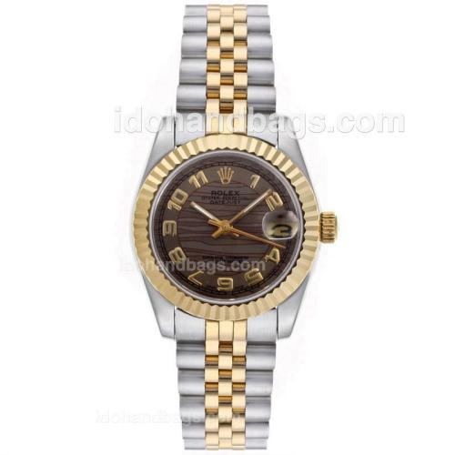 Rolex Datejust Automatic Two Tone Number Markers with Brown Wave Dial-Mid Size 64224