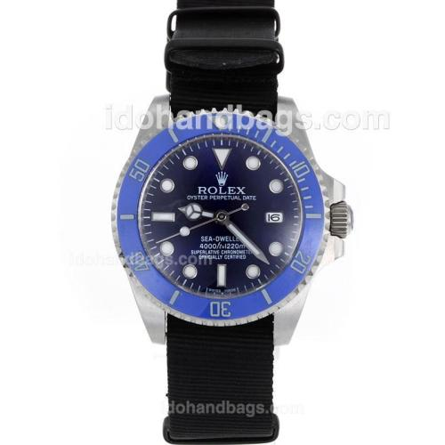Rolex Sea-Dweller Automatic Blue Ceramic Bezel and Dial with Nylon Strap-Sapphire Glass 119208