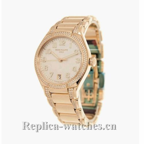 Patek Philippe Replica Twenty 4 Rose Gold Silver Diamond 36MM Watch 73001200R001