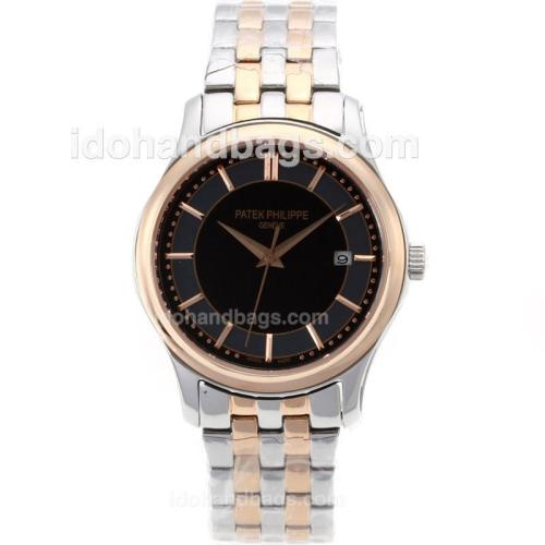 Patek Philippe Classic Automatic Two Tone Stick Markers with Black Dial-Sapphire Glass 71061