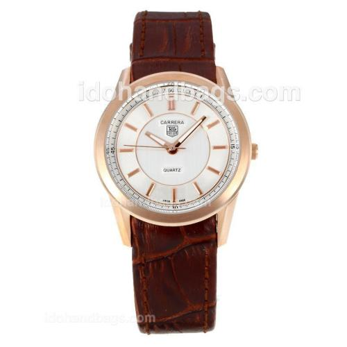 Tag Heuer Carrera Rose Gold Case with White Dial-Brown Leather Strap 172978
