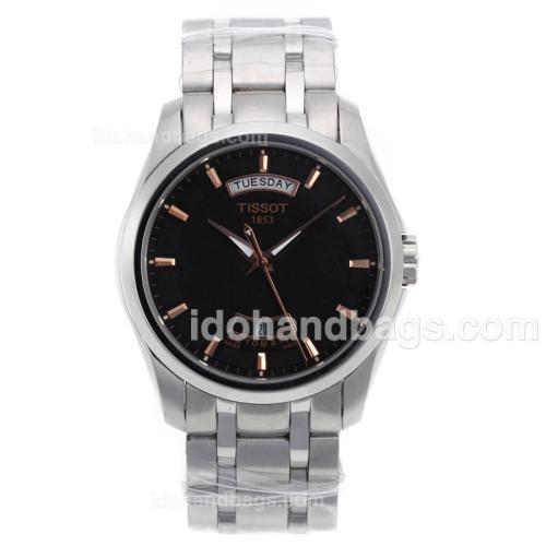Tissot Classic Day-Date Automatic Rose Gold Markers with Black Dial S/S 70072