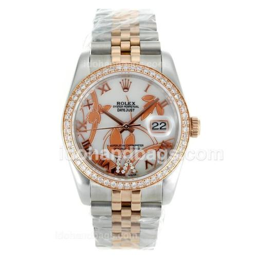 Rolex Datejust Automatic Two Tone Diamond Bezel Roman Markers with White Dial-Flowers Illustration 115626