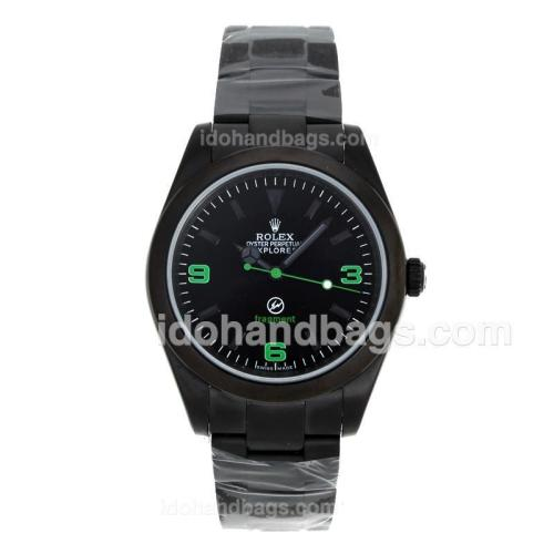 Rolex Explorer Automatic Full PVD Green Markers with Black Dial-Fragment Edition 98636
