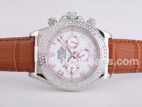 Rolex Daytona Automatic Diamond Bezel with White Dial-Number Marking 25684