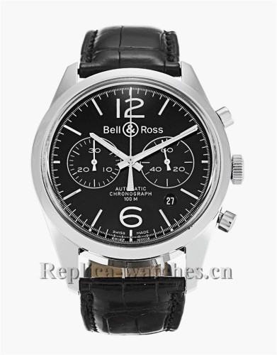 Bell and Ross Vintage 126 Black Leather Strap BR126-94