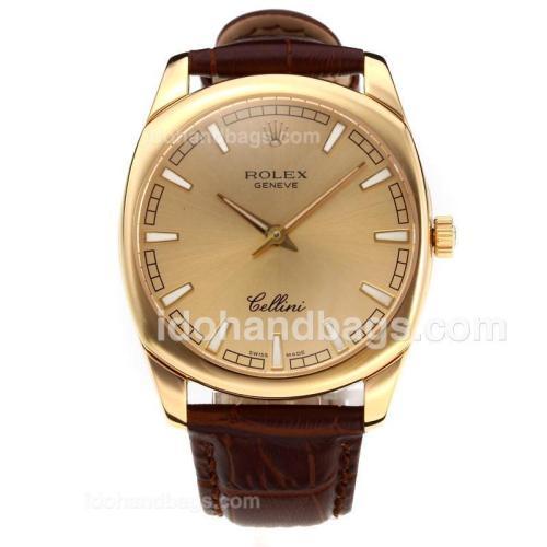 Rolex Cellini Luminous Swiss ETA Movement Yellow Gold Case with Golden Dial-Leather Strap-Sapphire Glass 194514