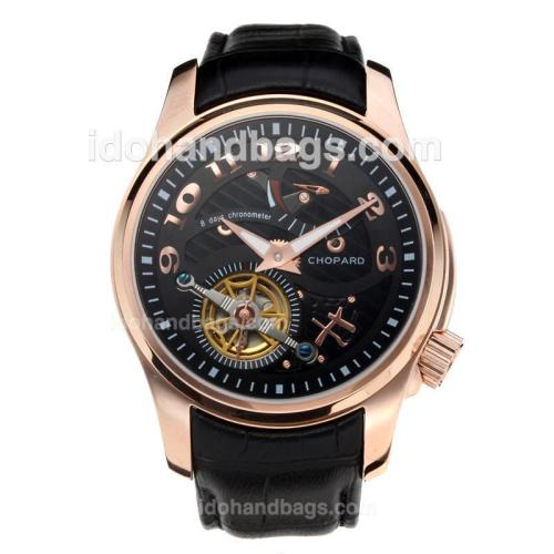 Chopard Classic Working Power Reserve Automatic Rose Gold Case Tourbillon with Black Dial-Leather Strap 197268