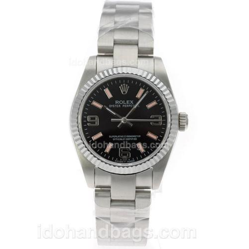 Rolex Air-King Oyster Perpetual Swiss ETA 2836 Movement with Black Dial S/S-Mid Size 71763