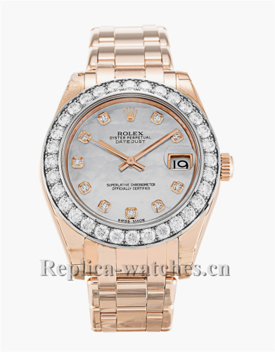 Rolex Pearlmaster Rose Gold Stainless Steel Strap 81285