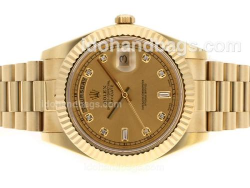 Rolex Day-Date II Swiss ETA 3156 Movement Full Gold Diamond Markers with Golden Dial 45148