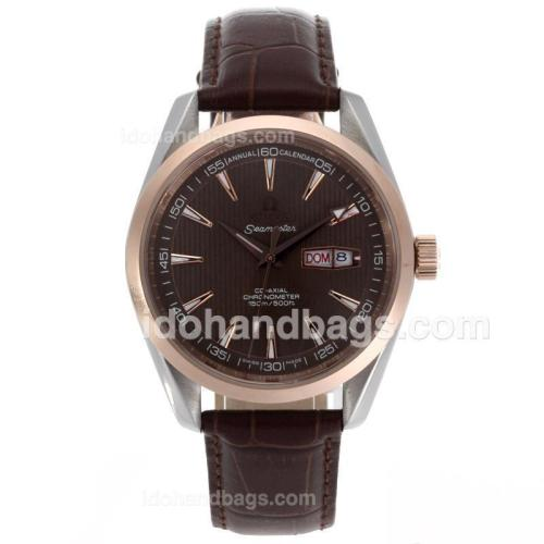 Omega Seamaster Day-Date Automatic Two Tone Case with Brown Dial-Leather Strap 56234