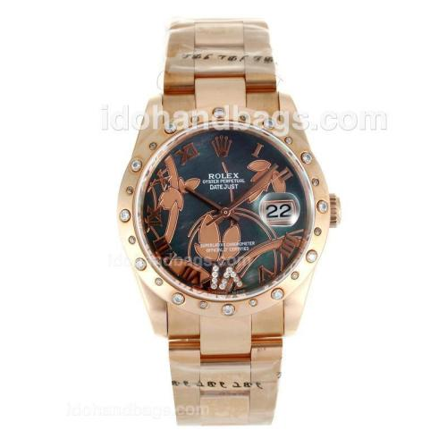 Rolex Datejust Automatic Full Rose Gold Diamond Bezel Roman Markers with MOP Dial-Flowers Illustration 115622