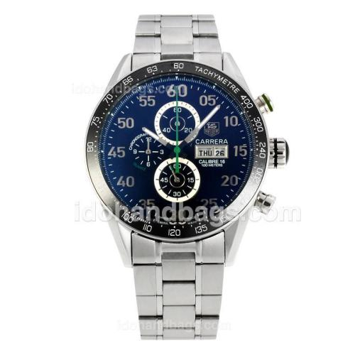Tag Heuer Carrera Calibre 16 Day Date Working Chronograph Ceramic Bezel with Black Dial S/S-Green Needle 149052