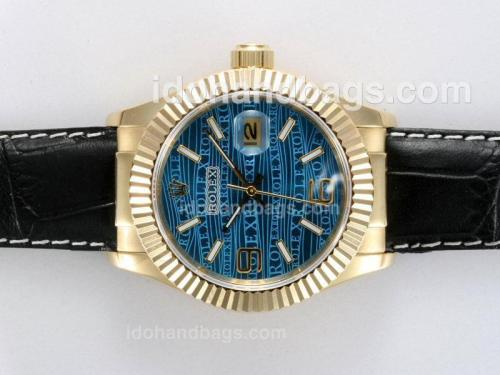 Rolex Datejust Automatic Gold Case with Blue Dial New Version 12765