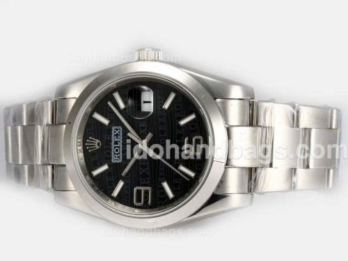 Rolex Datejust Automatic 2008 New Design Insignia Black Dial 19302