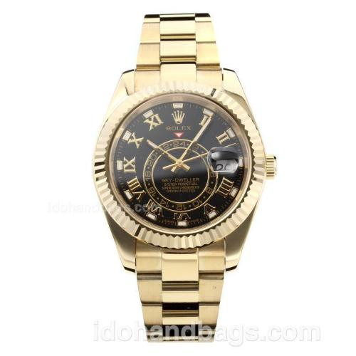 Rolex Sky Dweller Automatic Full Yellow Gold Case with Black Dial-Sapphire Glass 182536
