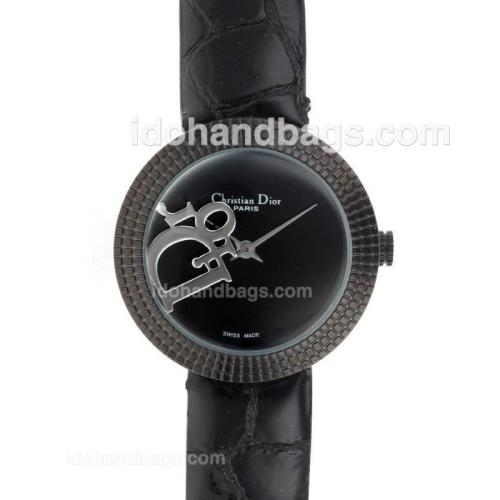 Dior Classic PVD Case Black Dial with Leather Strap-Lady Size 49392