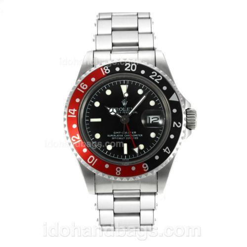 Rolex GMT-Master Swiss ETA 2836 Movement Vintage Edition with Black Dial S/S-Rivet Strap 126794