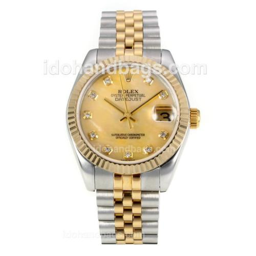 Rolex Datejust Automatic Two Tone Diamond Markers with MOP Dial-Same Chassis as ETA Version 175886