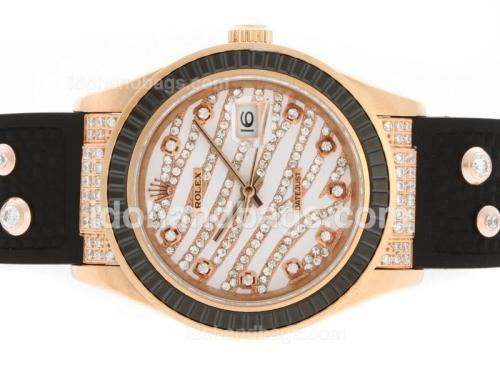 Rolex Datejust Automatic Rose Gold Case Diamond Marking with Black Ruby Bezel-White Diamond Crested Dial 36646