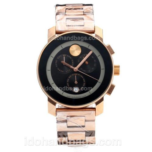 Movado Working Chronograph Full Rose Gold with Black Dial 186386