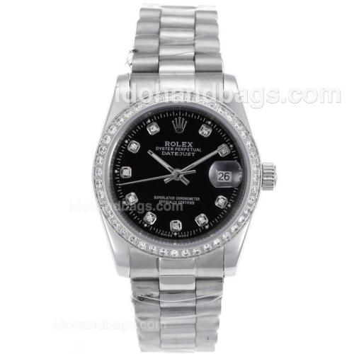 Rolex Datejust Automatic Diamond Marking and Bezel with Black Dial S/S-Sapphire Glass 72737