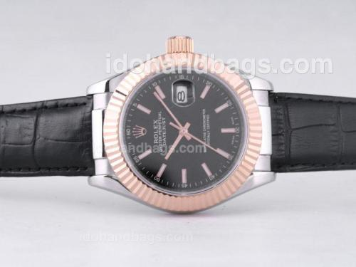 Rolex Datejust Automatic Two Tone Case with Black Dial-39mm New Version 27599