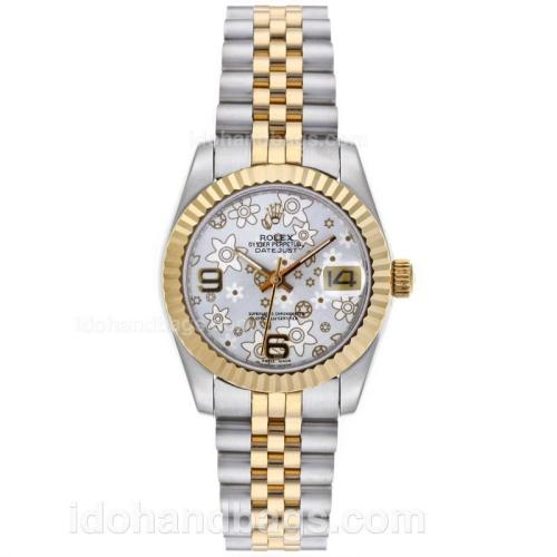 Rolex Datejust Automatic Two Tone with Silver Floral Motif Dial-Mid Size 64196