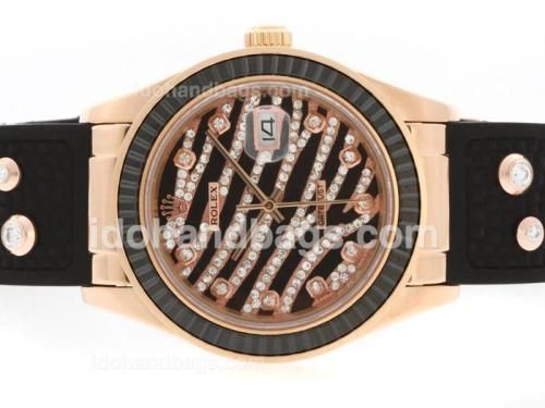 Rolex Datejust Automatic Rose Gold Case Diamond Marking with Black Ruby Bezel-Royal Black Design Diamond Crested Dial 36639