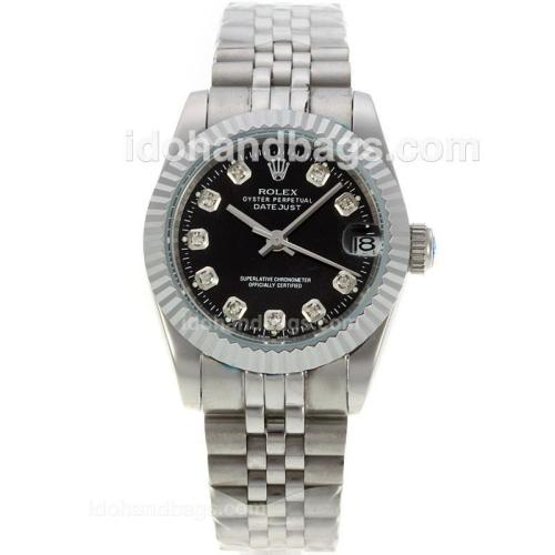 Rolex Datejust Automatic Diamond Markers with Black Dial S/S-Sapphire Glass 130448