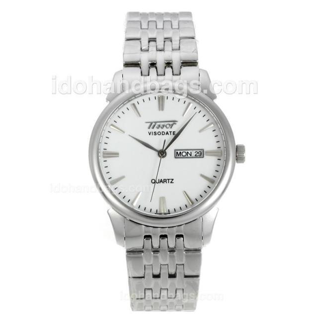Tissot Heritage Visodate Stick Markers with White Dial S/S-Sapphire Glass 127316