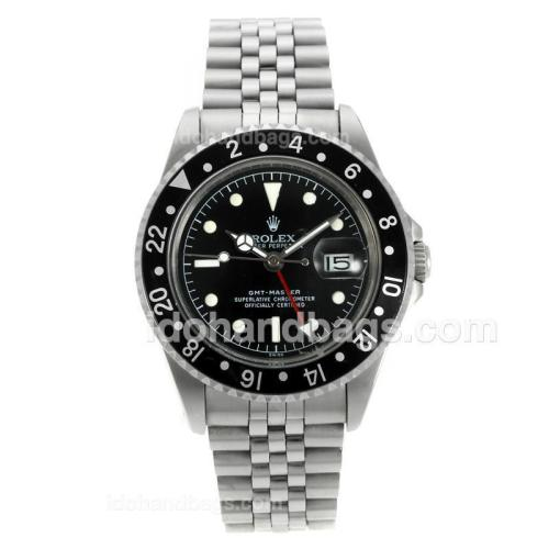 Rolex GMT-Master Swiss ETA 2836 Movement Vintage Edition with Black Dial and Bezel-White Marking 126786