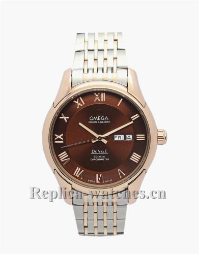 Omega De Ville Hour Vision Brown Dial Gold Bezel 41MM