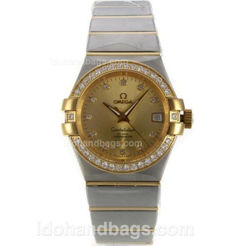 Omega Constellation Swiss ETA 2836 Movement Two Tone Diamond Bezel with Golden Dial-Diamond Markers 139564