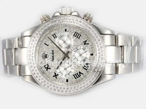 Rolex Daytona Automatic Roman Markers WIth Diamond Bezel-Full Diamond Dial 16238