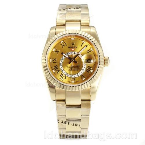 Rolex Sky Dweller Automatic Full Yellow Gold with Yellow Gold Dial-Sapphire Glass 161898