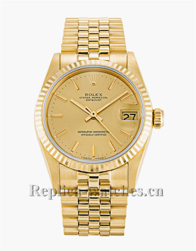 Rolex Mid-Size Datejust Gold Dial 31MM 68278