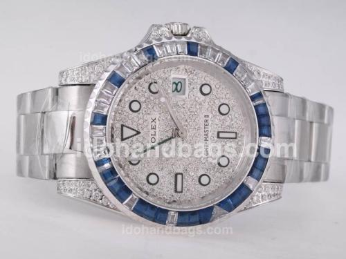 Rolex GMT-Mater II Automatic CZ Diamond Bezel with Diamond Dial 27386
