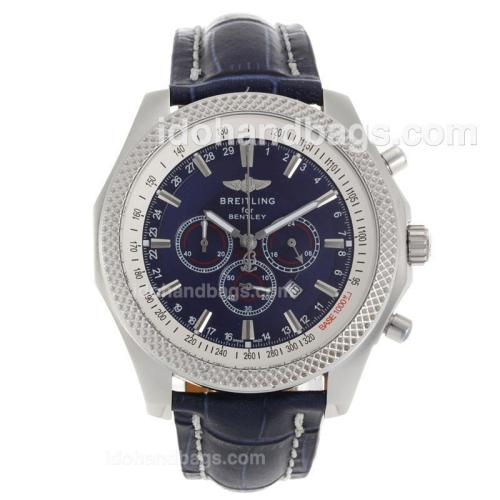 Breitling for Bentley Working Chronograph with Blue Dial-Blue Leather Strap 118140