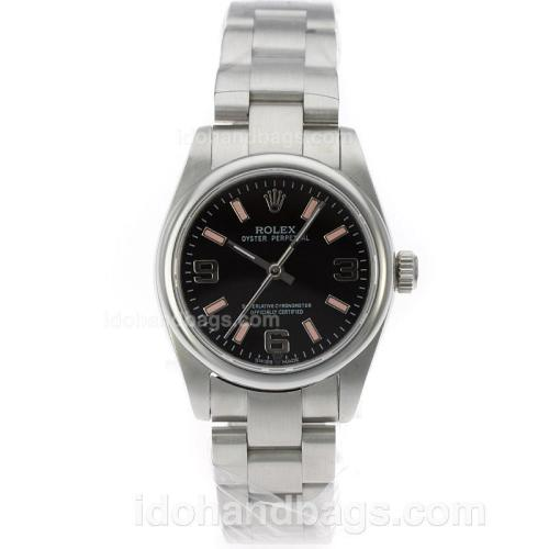 Rolex Air-King Oyster Perpetual Swiss ETA 2836 Movement with Black Dial S/S-Mid Size 71754