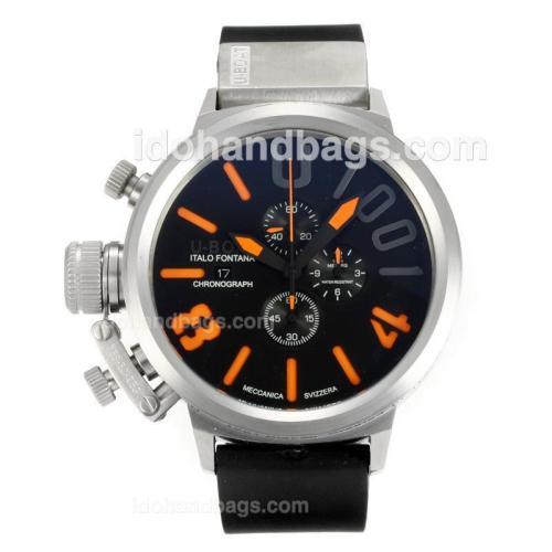 U-Boat Italo Fontana Working Chronograph with Black Dial-Orange Markers 163200