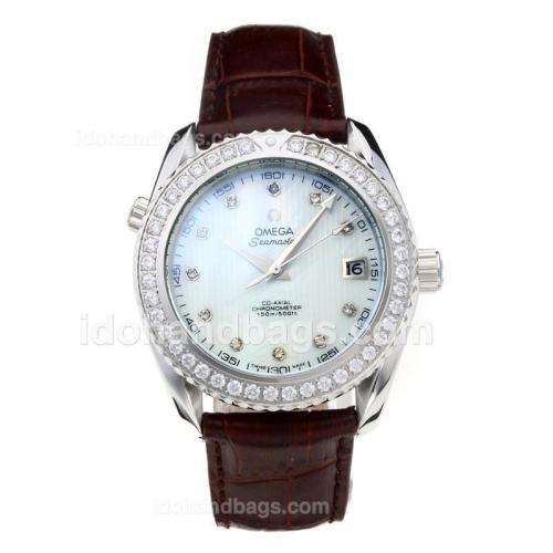 Omega Seamaster Diamond Bezel with White Dial-Coffee Leather Strap 182960